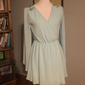 Lulus mint dress with silver bead embellishments